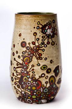Dan Siegel  |  Vase. Wax resist over engobe dots, I think