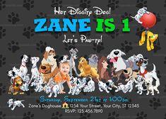 Disney Dogs Invitation, Lady and Tramp Party, 101 Dalmatians Birthday Invite Disney Invitations, Birthday Invitations, Invites, 1st Boy Birthday, 1st Birthday Parties, Disney Dogs, Funny Disney, Transformer Party, Birthday Themes For Boys