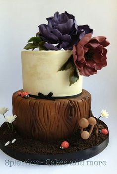 I love this cake with the tiny mushrooms, bark detail and beautiful flowers Wedding Cake Rustic, Rustic Cake, Wedding Cakes, Gorgeous Cakes, Pretty Cakes, Amazing Cakes, Wedding Cake Decorations, Wedding Cake Designs, Fondant Cakes