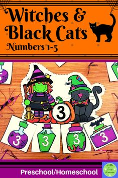 These Witches & Black Cats Number Lessons are the perfect addition for Math Centers for homeschool/preschool. This time saving, leveled resource is engaging with its vibrant pictures and stimulating content! Your multi-aged 2-3 year old children will enjoy learning about Halloween and numbers with these interactive lessons Halloween Math, Halloween Activities, Halloween Witches, Morning Activities, Cat Activity, Numbers Preschool, Time Saving, Dramatic Play, Elementary Math