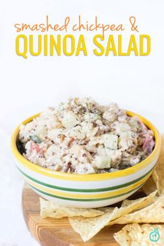 Smashed Chickpea & Quinoa Salad - think a healthy vegan version of potato salad. It's perfect for any summer cookout and can be served as a side, as a dip or even on a sandwich! Click the image to see the full recipe at --> www.queenofquinoa.me