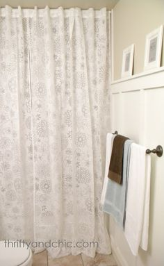 Thrifty and Chic: Bath Sneak Peak.and Curtain turned Shower Curtain Tall Shower Curtains, Window Curtains, Ceiling Curtains, Ikea Curtains, Bathroom Makeovers On A Budget, Bathroom Inspiration, Bathroom Ideas, Small Bathroom, Master Bathroom