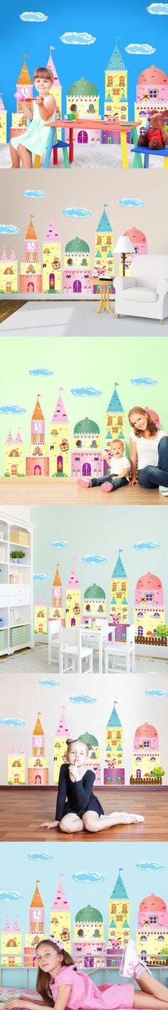Removable Cartoon Fairy Tale Castle Wall Stickers Creative DIY Home Decor Sticker for Kids Room Nursery School Decoration $10.89