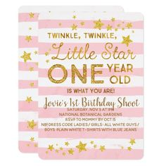 Pink Birthday Invitation Twinkle Little Star Twinkle, twinkle, little star, TWO years old is what you are! Pink stripes and gold glitter twinkle twinkle little star birthday invitation. Fun birthday party invites - customize your invitations. Pink And Gold Invitations, Zazzle Invitations, Invites, Pink Gold Birthday, Golden Birthday, 2nd Birthday Invitations, 2nd Birthday Parties, Birthday Ideas, Birthday Diy