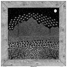Peak Migration, 15x15, black pen on paper