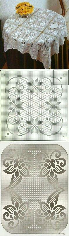 Diy Crafts - Ideas for crochet blanket granny square vintage crochet Crochet Stitches Patterns, Thread Crochet, Afghan Patterns, Crochet Tablecloth, Crochet Doilies, Oval Tablecloth, Fillet Crochet, Crochet Squares, Blanket Crochet