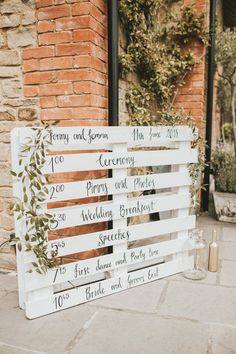 DIY White Painted Palette Order of The Day Sign Wedding Decor Millbridge Court Surrey Wedding with DIY Decor Foliage Giant Balloons Nataly J Photography Pallet Wedding, Wedding Signage, Rustic Wedding Signs, Wedding Sign In Ideas, Rustic Wedding Details, Different Wedding Ideas, Rustic Wedding Inspiration, Marquee Wedding, Country Barn Weddings