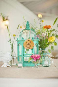 Green Birdcage wedding centerpieces