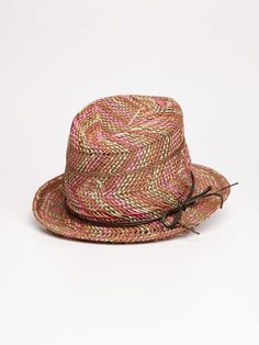 Straw hat with leather strap