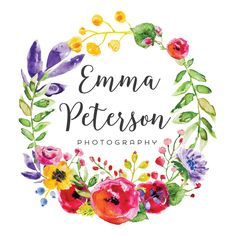 Premade Logo - Watercolor Floral Wreath Premade Logo Design - Customized with Your Business Name!