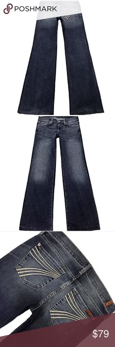 """7 For All Mankind """"Dojo"""" SZ 28 Inseam 32"""" (#295) Very Cute Pair Of 7 For All Mankind """"Dojo"""" Women's SZ 28 Flare Leg Med Distressed Wash With White Stitched 7 Low-Rise Stretch Jeans.  Style# JU115Y802 Cut# 004907 Measurements: Waist: 28"""" Hips: 37"""" Front rise: 8"""" Back rise: 13"""" Inseam: 32"""" 7 For All Mankind Jeans Flare & Wide Leg"""