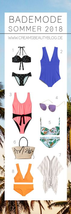 Meine Favoriten für Bademode Sommer 2018! Bikinis und Badeanzüge, die voll im Trend liegen und der Figur schmeicheln. Schick für den Strand und das Freibad!  #bademode #bikini #badeanzug #sommer #capsulewardrobe #fashioninspiration #fashioncollage