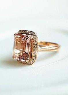 Carat Pear Diamond Engagement Ring with a Pave Diamonds Crown Ring - SHEfinds Diamond Crown Ring, Pear Diamond Engagement Ring, Morganite Ring, Pink Stone, Beautiful Rings, Wedding Rings, Wedding Stuff, Jewelery, Women Jewelry