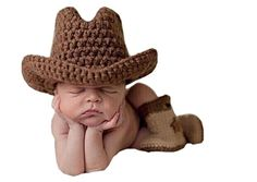 Pinbo® Baby Boys Photography Prop Crochet Knitted Cowboy Hat Boots (affiliate)