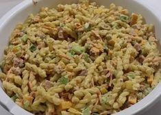 Recette: Salade de pâtes fusillis. Fusilli, Salad Recipes, Buffet, Pizza, Menu, Rice, Favorite Recipes, Ethnic Recipes, Dressing