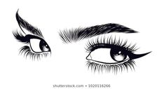 Images, photos et images vectorielles de stock de Hand-drawn woman's sexy makeup look with perfectly perfectly shaped eyebrows and extra full lashes. Idea for business visit card, typography vector.Perfect salon look similaires - 776749792 Glitch, Sexy Make-up, Makeup Illustration, Lashes Logo, Eye Art, Royalty Free Images, Makeup Looks, How To Draw Hands, Sketches