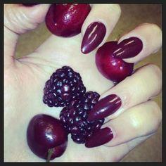 berry, stiletto nails, ideas,