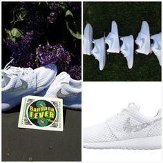c8c3e3f3f654 Bandana Fever Bling Rhinestone Custom White Nike Roshe Shoes