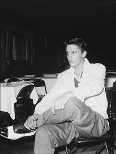 Elvis Presley at the Eagle's Nest nightclub in Memphis, TN, c. 1954.