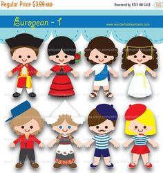 50% OFF Children of the World European Countries 1 - PDF PNG Instant Download Printable Clipart Clip Art Digital File by clipartsuperstore