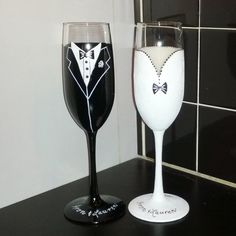 Bride and Groom hand painted champagne flutes by GlassesbyJoAnne, $44.00