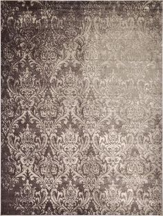 Brown Damask Area Rug