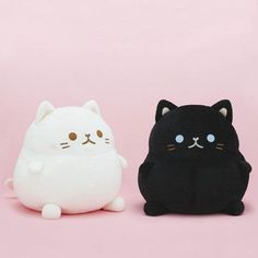 "Want to hug plump kitties that are extra large and extra squishy? About 80% belly, these high-quality 13"" cat plushies have round bodies with no neck, itty bitty feet, and little perky ears. You can adopt a black cat with blue eyes or a white cat with pink blushed cheeks, or both for a nice contrast when they're sat side by side. Make sure to give them a name when they arrive, okay? (=^-^=)"