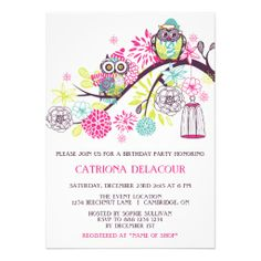 Colorful Winter Owls Floral Birthday Invitation