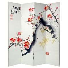 Wayfair.com - Double Sided Cherry Blossoms and Love Canvas 4 Panel Room Divider