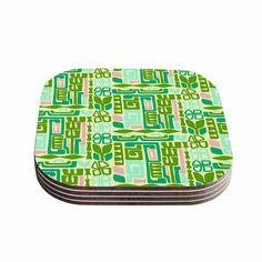 """Amy Reber """"Maze"""" Green Vector Coasters (Set of 4)"""