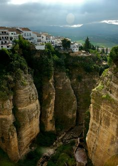 A stunning view of the town of Andalucian town of Ronda from the Puente Nuevo bridge, Spain. Photo taken by Amos Lee.