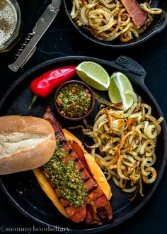 Bacon Choripan with Chimichurri Sauce - A mouthwatering addition to any Super Bowl party. Hands down, this is the best sandwich I have ever made. http://mommyhoodsdiary.com