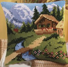 Mountain Retreat Cross Stitch Cushion Kit By Vervaco
