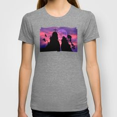 "Bride and groom T-shirt A pair of lovers sitting on two famous rocks in my area, they are called ""Bride and Groom"".   Landscape, Germany, rocks, lovers, pair of lovers, twosome, romance, silhouettes, birds,  sky, clouds, full moon, purple, cross, trees, romantic, neo-mystical"