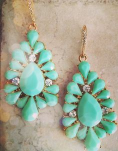 Statement Earrings FREE SHIPPING Turquoise Mint by LimonBijoux
