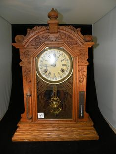 Antique Clock-oak Kitchen/mantle Clock With Thermometer And Barometer