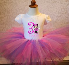 Minnie Mouse Personalized Birthday Tutu Outfit by hautalacouture, $40.00