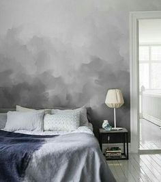 mottled gray accent wall