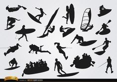 On Water sports silhouettes set. It includes figures of people doing diving, surfing, boating, canoeing, jet skiing, kayaking, waterboarding, rowing, etc. These are perfect vectors to use in promos related to water sports, tours, equipment, etc. High quality JPG included. Under Commons 4.0. Attribution License.