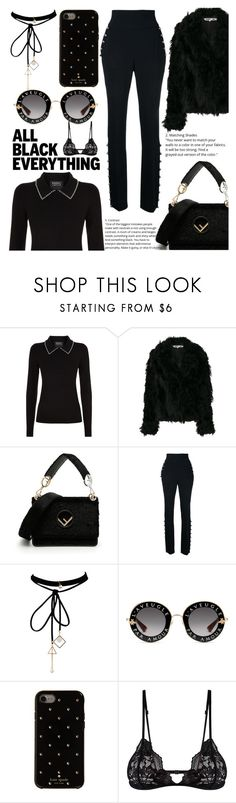 """Total Black Look🖤"" by valia-dimaridou ❤ liked on Polyvore featuring Markus Lupfer, McQ by Alexander McQueen, Fendi, David Koma, WithChic, Gucci, Kate Spade and Mosmann"