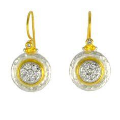 Gurhan Silver Gold Diamond Pave Earrings
