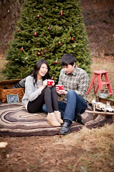 A Christmas tree farm engagement is pure genius. Honestly, I've been smiling since the moment I opened these images from Joanna Traeger Photography and it's basically impossible to not be in the ho. Christmas Tree Farm, Christmas Minis, Outdoor Christmas, Christmas Ideas, White Christmas, Christmas Cards, Christmas Clothes, Holiday Ideas, Merry Christmas