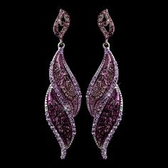 Silver Amethyst Rhinestone Dangle Bridal Earrings 9252