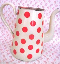 Polka Dot Enamel Coffee Pot/Pitcher