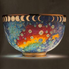 """Galaxy"" bowl  Gold backless enamel bowl gold foot.   Made for the Worshipful Company of Goldsmiths' collection 2004.  Plique-a-jour  by A. Raphael"