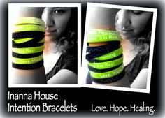 Want one of each of these intention #bracelets? Wear your support for #InannaHouse and for Lyme Disease Awareness! Set your #intention on seeing Love, Hope, and Healing for the #Lyme community every time you look at them.   #Donate $10.00 or more dollars to the creation of Inanna House, and we will send you a couple of these fun little bracelets. Please share this with people so more can wear their support, and keep the good intentions rolling!