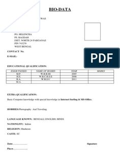 Biodata Format for Marriage Resume Format Free Download, Biodata Format Download, Marriage Biodata Format, Bio Data For Marriage, Job Resume Template, Information And Communications Technology, Data Sheets, Resume Design, Word Doc