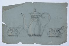 Gustav Gaudernack pencil sketch/watercolor of coffe-set in silver with poppy motif. Tegning @ DigitaltMuseum.no