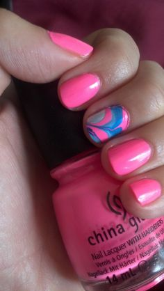 I love this marbling! Colorful Nails, Colorful Nail Designs, Toe Nail Designs, Nail Polish Designs, Cute Nail Art, Cute Nails, Pretty Nails, Posh Nails, Water Marble Nail Art