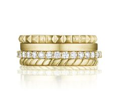 Yellow gold band ring with spiked and grooved designs and diamonds by Penny Preville. #stacksonstacks